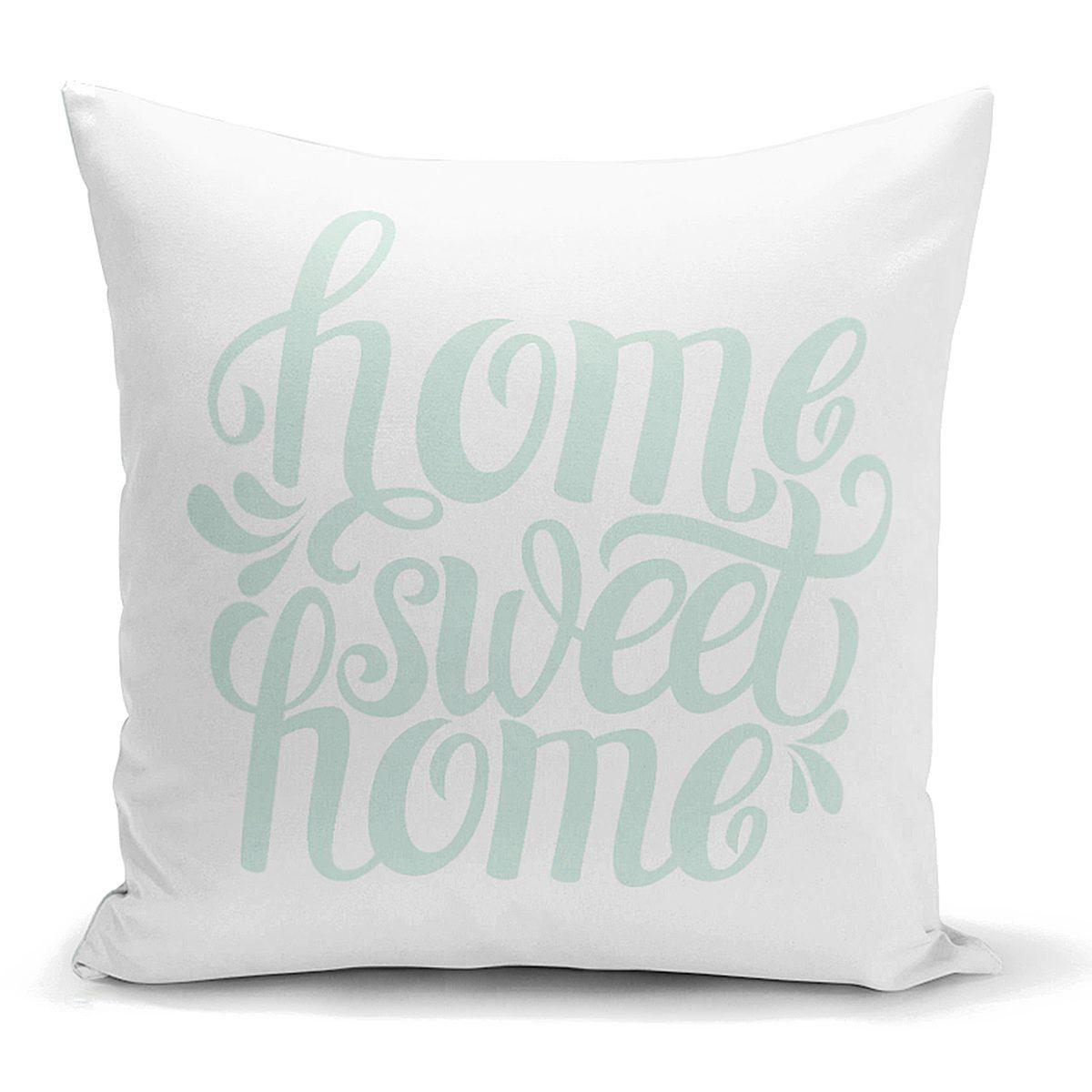 Bulut Mavi Home Sweet Home Dekoratif Yastık Kırlent Kılıfı Realhomes
