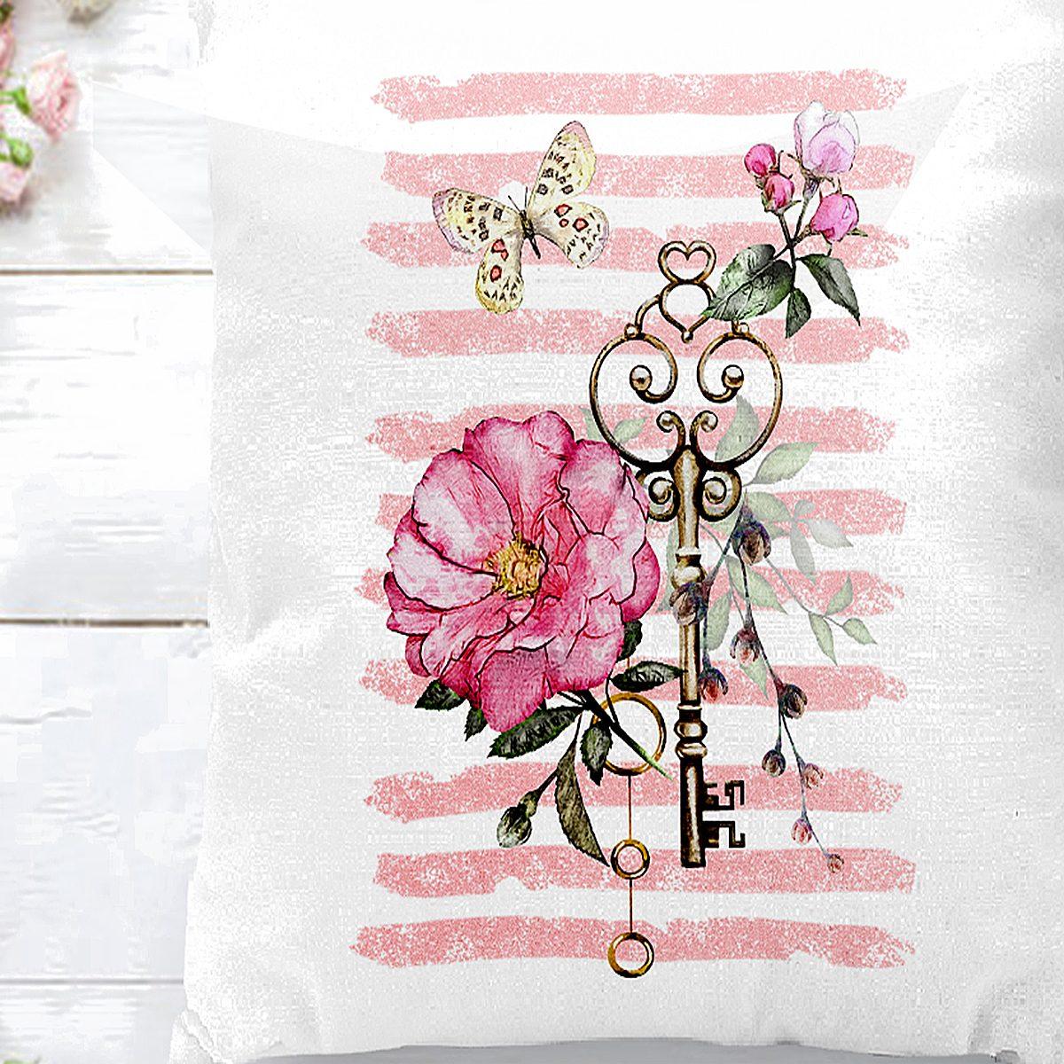Anahtar Motifli Çiçek Desenli Çizgili Yastık Kırlent Kılıfı Realhomes