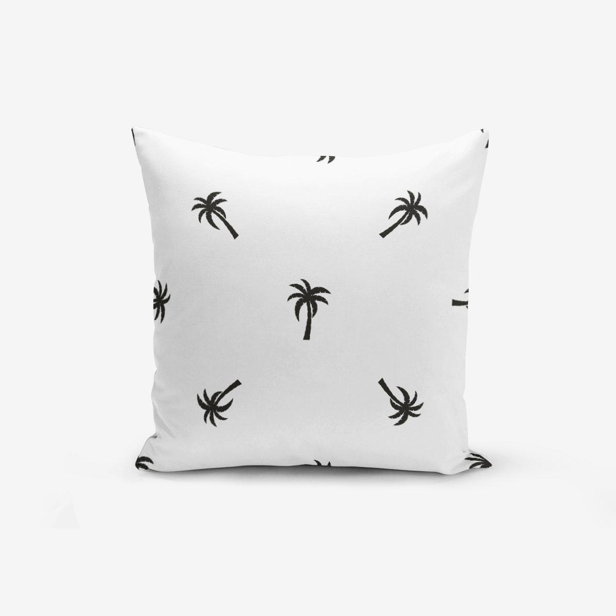 Palmiye Baskılı Siyah Beyaz Dekoratif Yastık Kırlent Kılıfı Realhomes