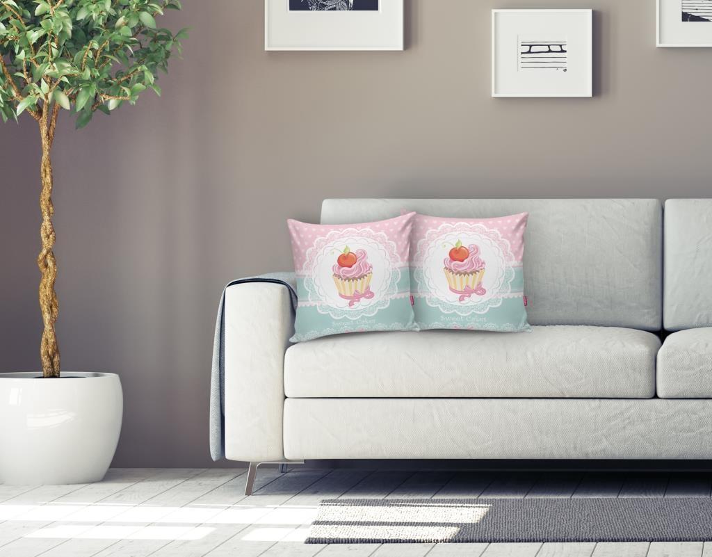 Cup Cake Dijital Baskılı Dekoratif Yastık Kırlent Kılıfı Realhomes