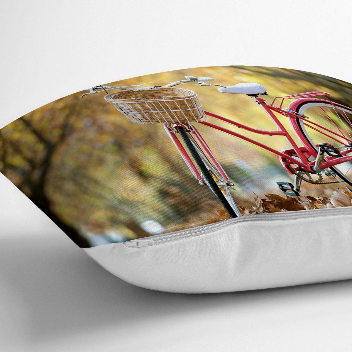 Modern Bisiklet Desen Dijital Baskılı Yastık Kırlent Kılıfı Realhomes