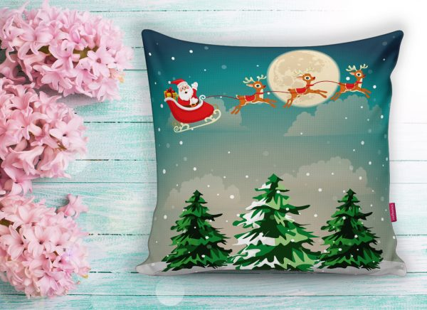 Christmas Temalı Dijital Baskılı Yastık Kırlent Kılıfı Realhomes