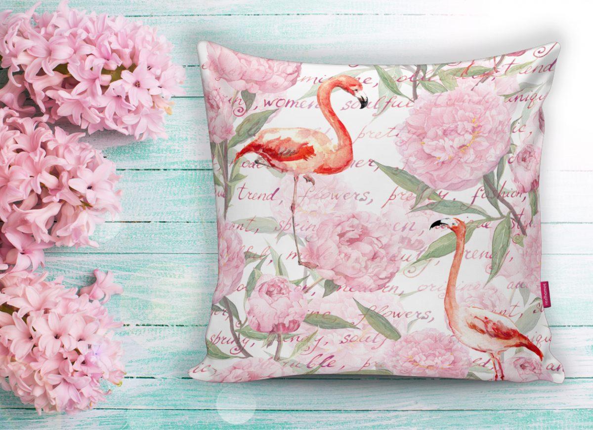 Flamingo Desenli Dijital Baskılı Yastık Kırlent Kılıfı Realhomes