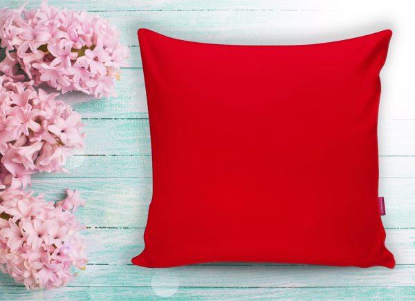 Kırmızı Renkli Dijital Baskılı Dekoratif Yastık Kırlent Kılıfı Realhomes