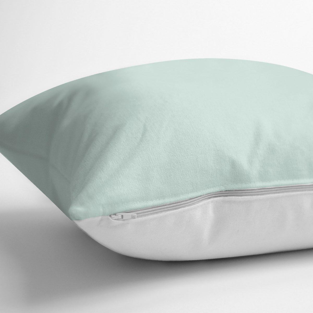 Mint Yeşili Renkl Dijital Baskılı Dekoratif Yastık Kırlent Kılıfı Realhomes