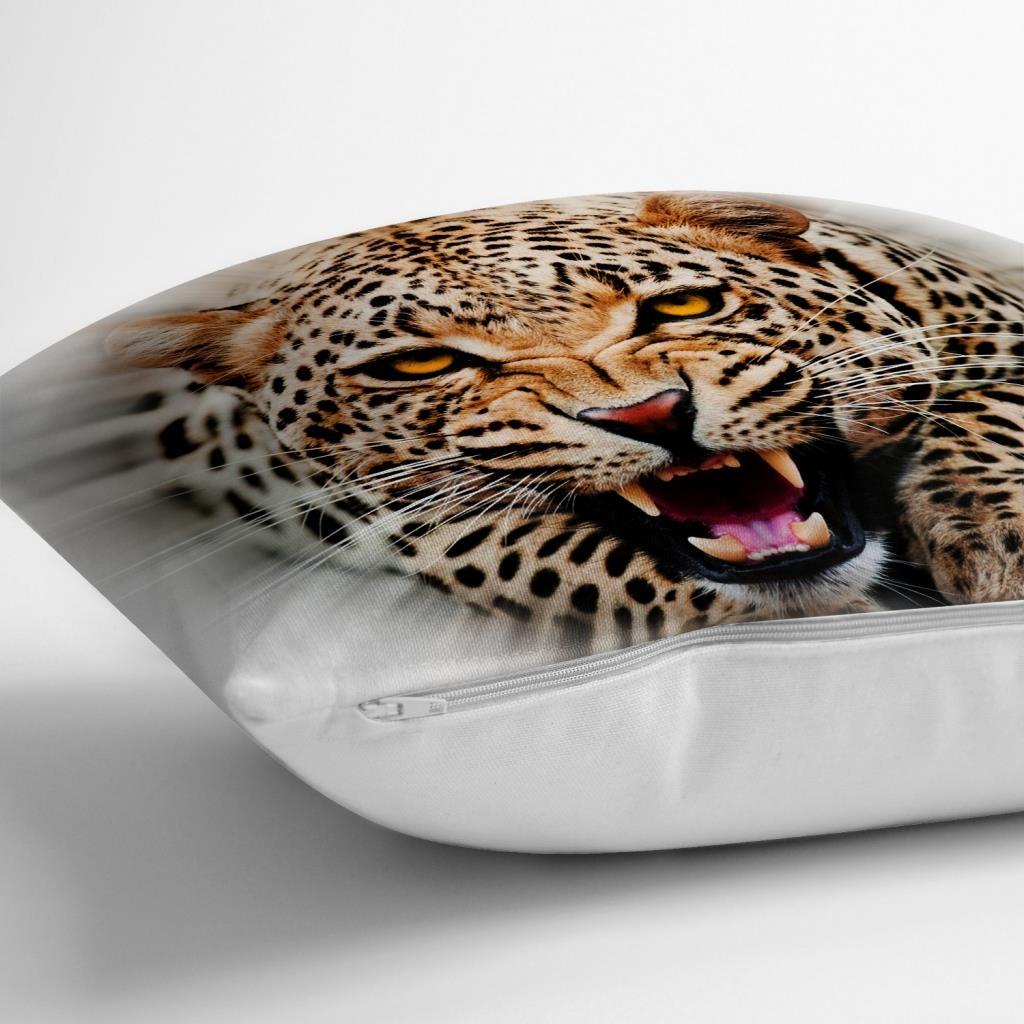 Leopar Resimli Dijital Baskılı Dekoratif Yastık Kırlent Kılıfı Realhomes