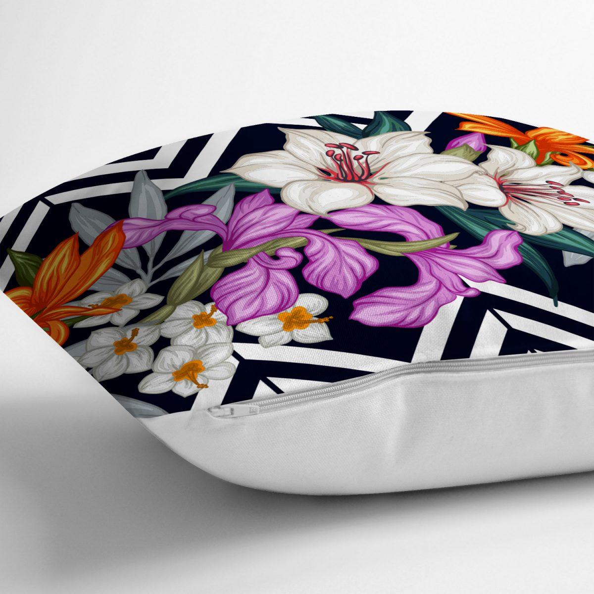 Çiçek Desen Dijital Baskılı Dekoratif Yastık Kırlent Kılıfı Realhomes
