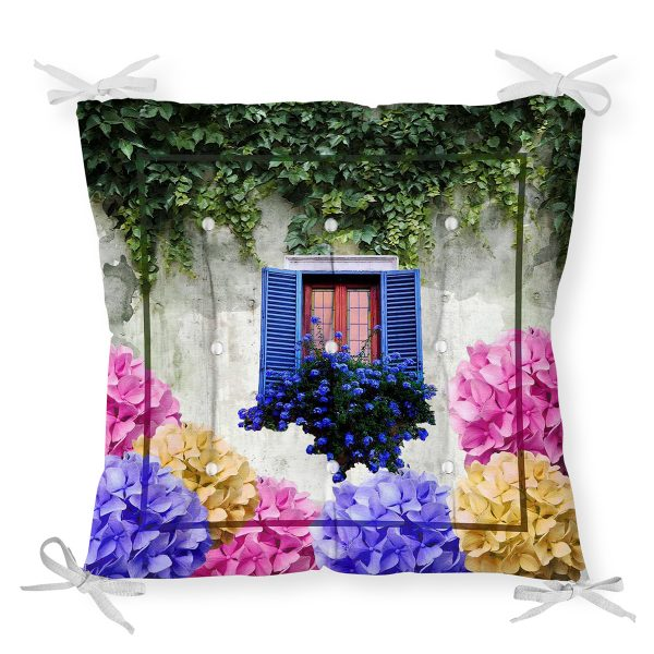 Çiçek Penceresi Pofidik Kare Sandalye Minderi 40x40cm Düğmeli Realhomes