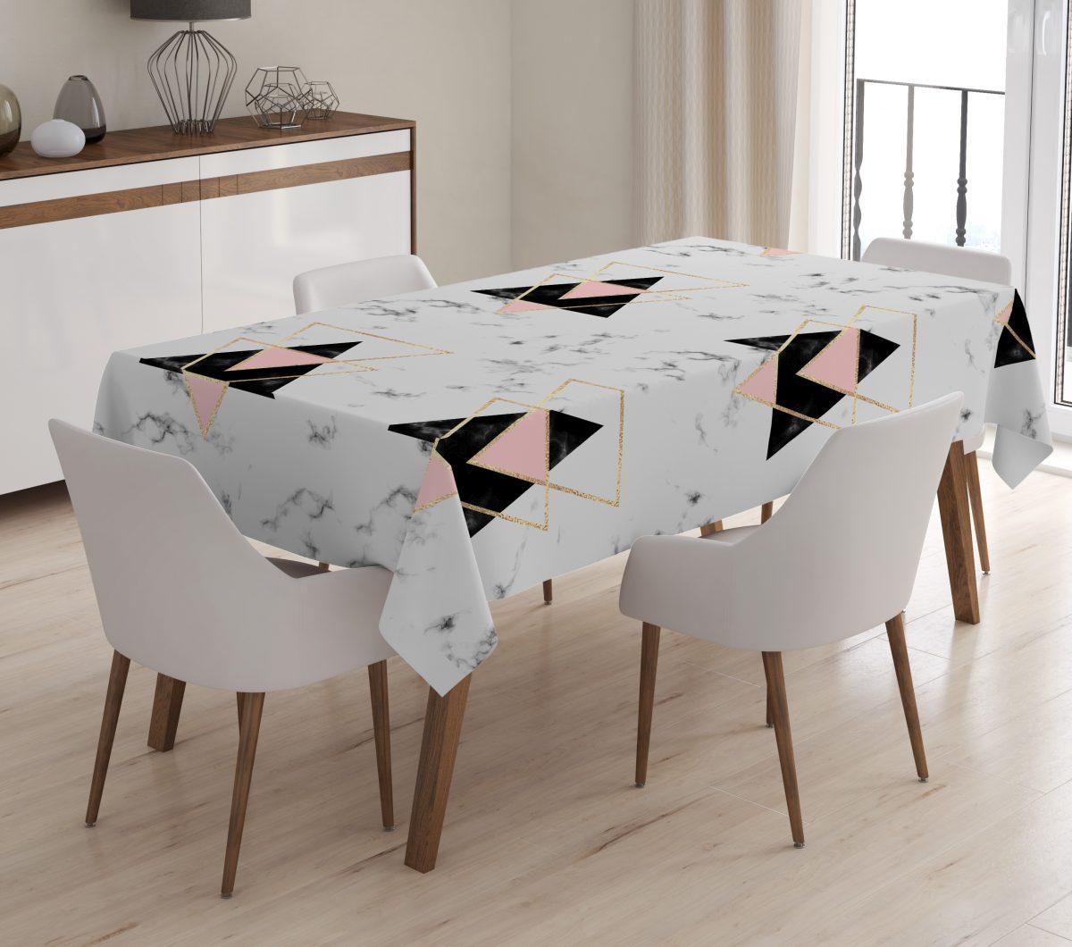 Geometrik Desenli Dijital Baskılı 3D Masa Örtüsü Realhomes