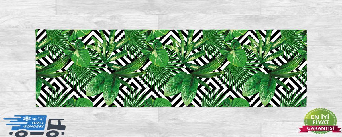 RealHomes Geometrik Zeminde Yeşil Yapraklar Özel Tasarım Runner Realhomes