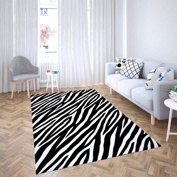 Siyah Zebra Motifli 3D Dijital Baskılı Kaymaz Taban Halı Realhomes