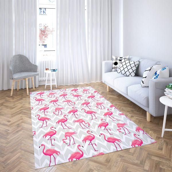 Modern Flamingo Desenli 3D Dijital Baskılı Kaymaz Taban Halı Realhomes