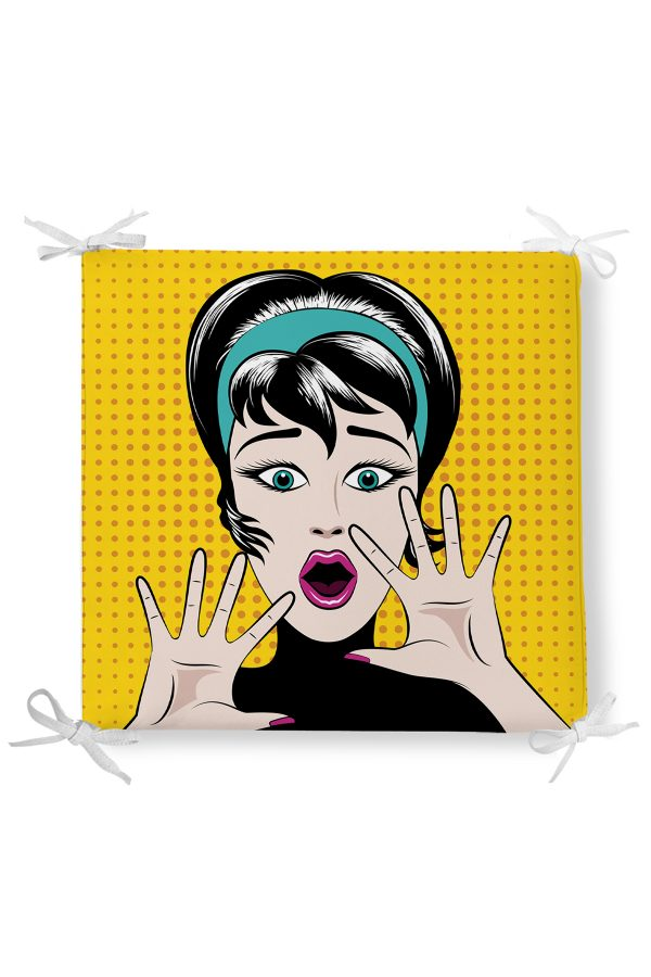 Pop Art Resimli Dekorati Kare Sandalye Minderi Realhomes