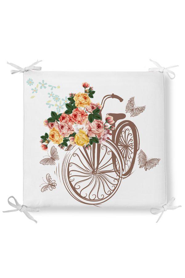Modern Bisiklet Desenli Dekorati Kare Sandalye Minderi Realhomes