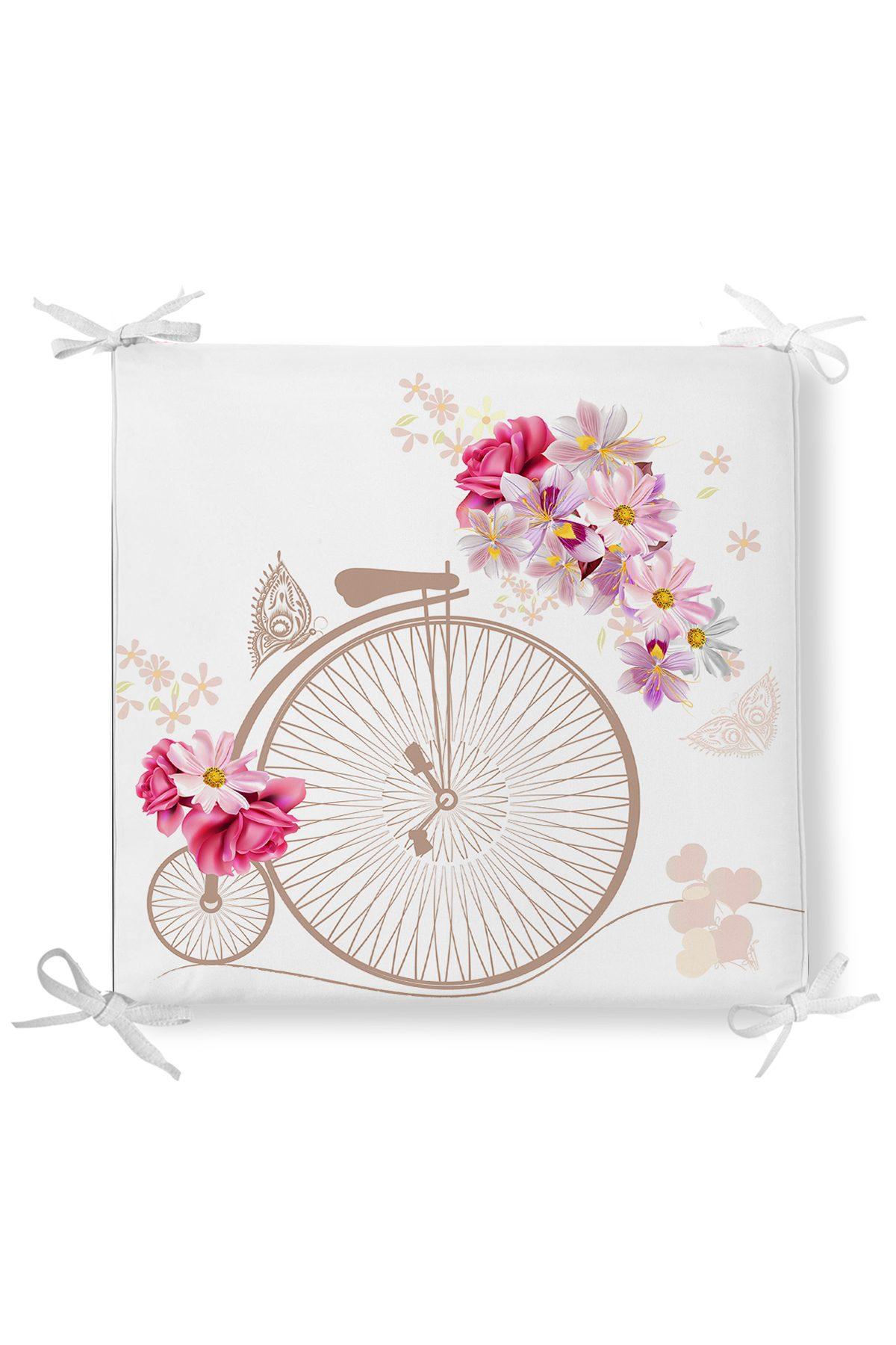 Bisiklet Desenli Dekorati Kare Sandalye Minderi Realhomes