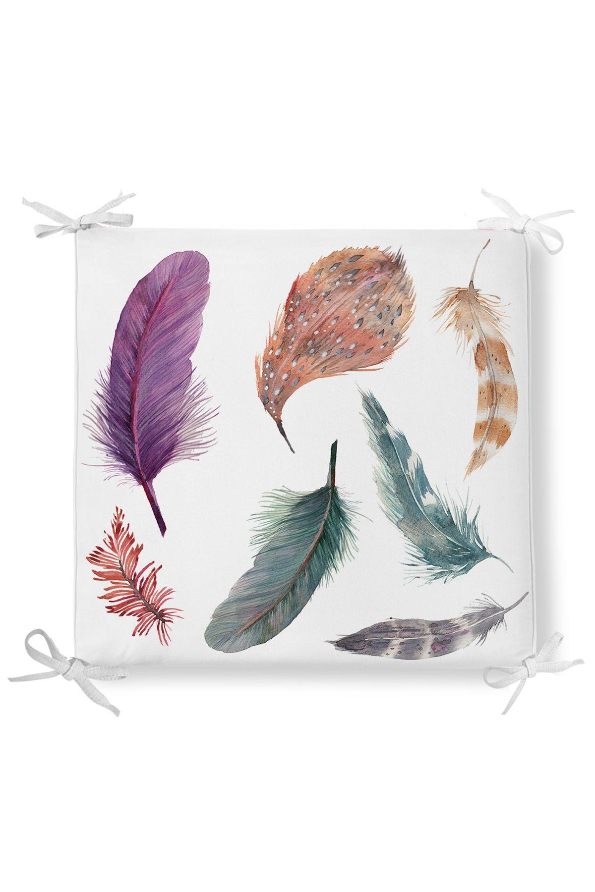 Kuş Tüyü Desenli Dekorati Kare Sandalye Minderi Realhomes