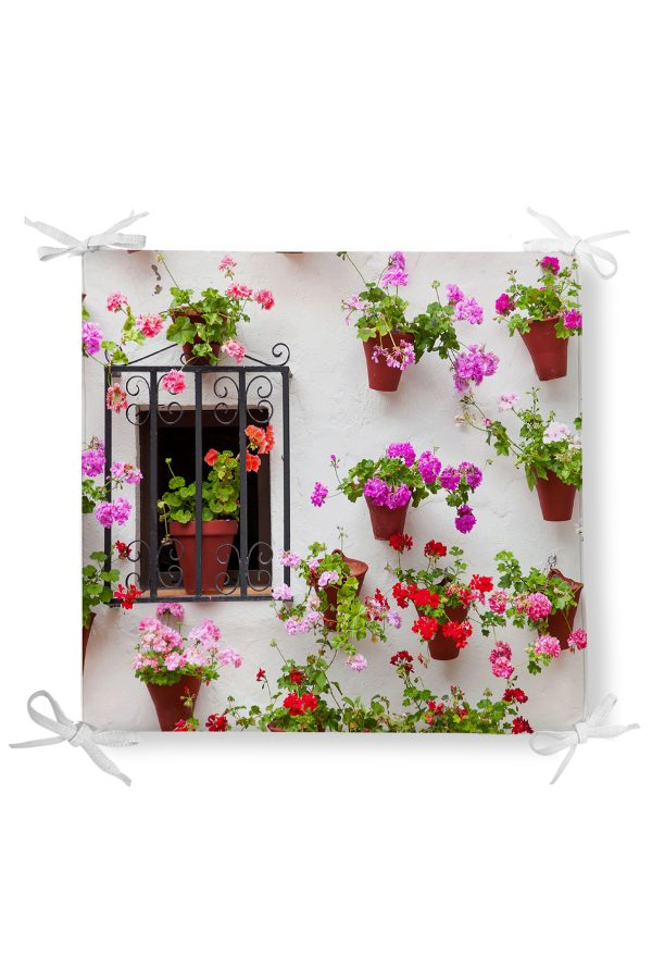 Çiçek Penceresi Resimli Dekorati Kare Sandalye Minderi Realhomes