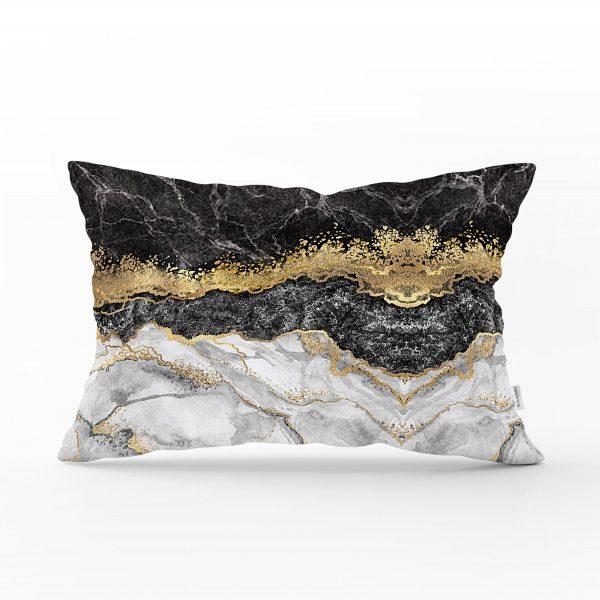 Modern Siyah Beyaz Altın Mermer Motifli Dijital Baskılı Dikdörtgen Yastık Kırlent Kılıfı Realhomes