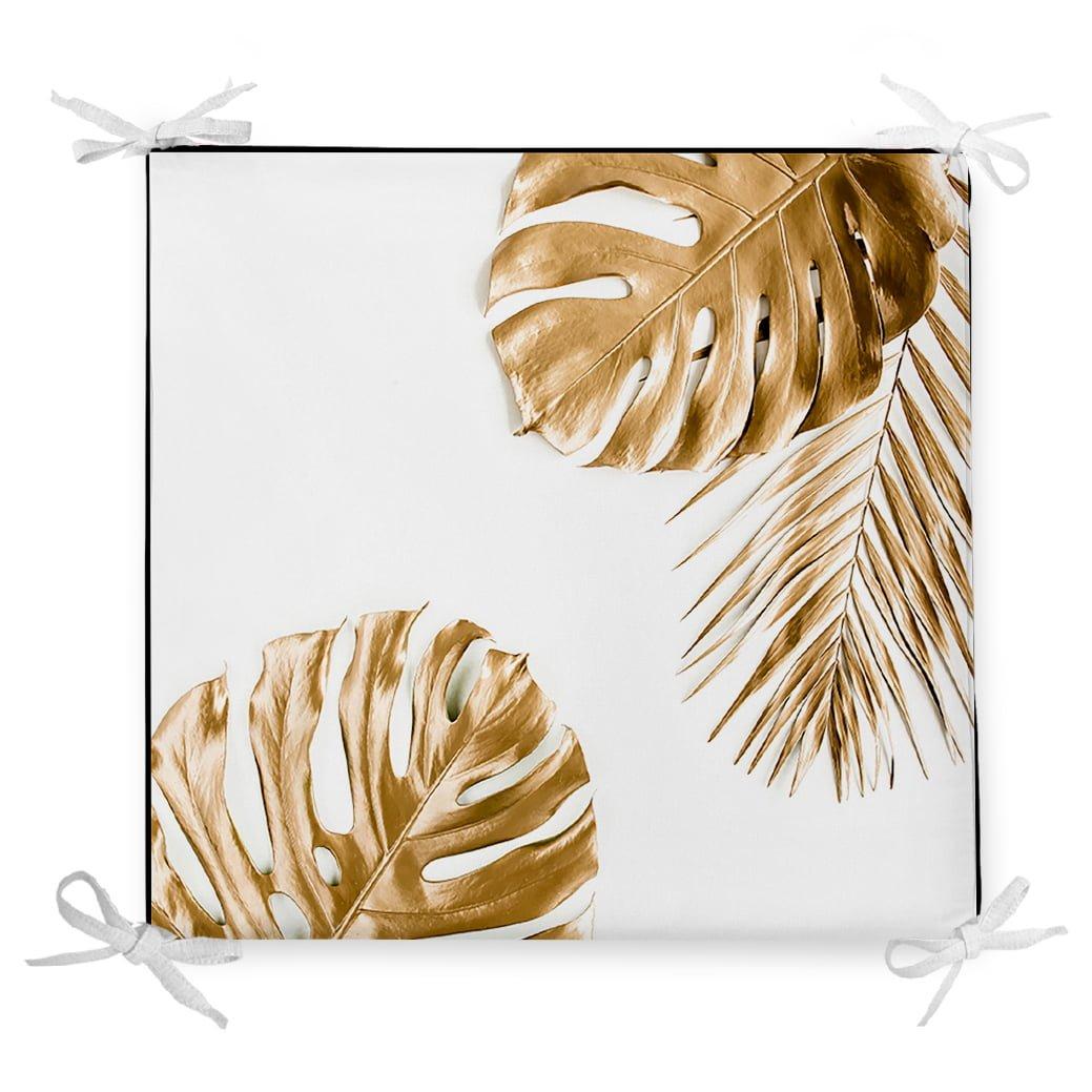 3D Altın Renkli Palmiye Yaprakları Desenli Dekoratif Fermuarlı Sandalye Minderi Realhomes