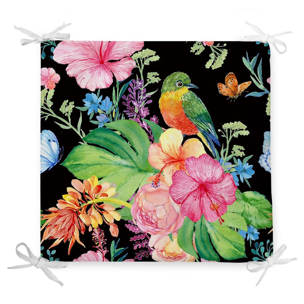Watercolor Çiçek ve Kuş Motifli Özel Tasarım Fermuarlı Sandalye Minderi Realhomes