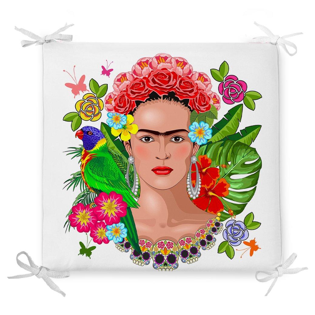 Özel Tasarım Frida Kahlo Tasarımlı Dekoratif Fermuarlı Sandalye Minderi Realhomes