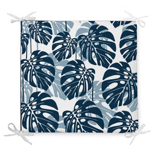 Mavi Renkli Palmiye Yaprakları Dijital Baskılı Fermuarlı Sandalye Minderi Realhomes