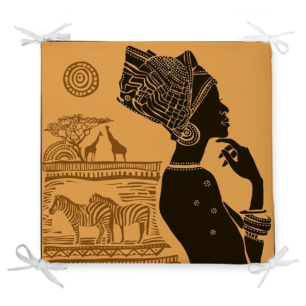 African Etnik Tasarım Dijital Baskılı Dekoratif Fermuarlı Sandalye Minderi Realhomes