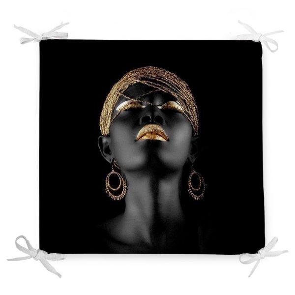 Siyahi Kadın Özel Tasarımlı Modern Dekoratif Fermuarlı Sandalye Minderi Realhomes