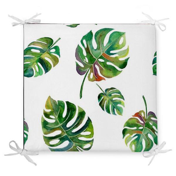 Suluboya Palmiye Yaprakları Desenli Özel Tasarım Fermuarlı Sandalye Minderi Realhomes