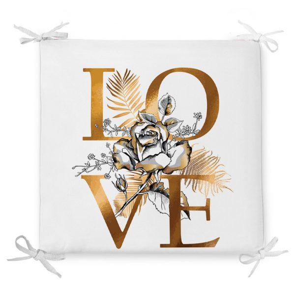 Altın Varaklı Love Tasarımlı Modern Dekoratif Fermuarlı Sandalye Minderi Realhomes
