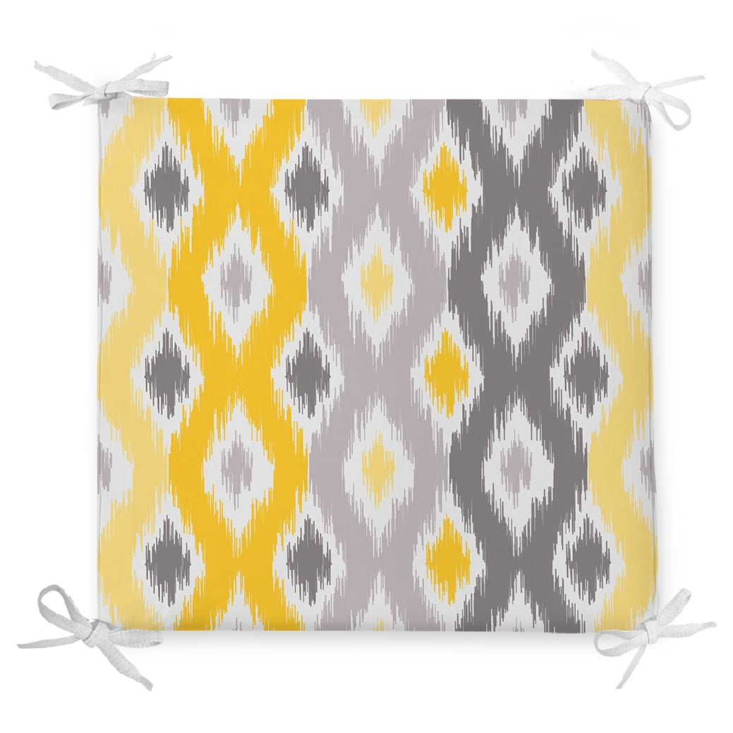 Sarı Gri Zigzag Desenli Modern Tasarımlı Dekoratif Fermuarlı Sandalye Minderi Realhomes