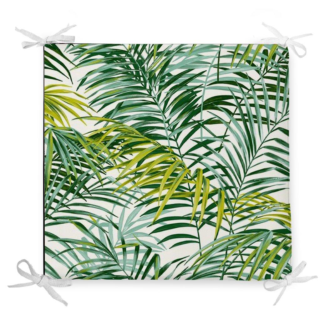 Yeşil Palmiye Yaprakları Özel Tasarımlı Dekoratif Fermuarlı Sandalye Minderi Realhomes