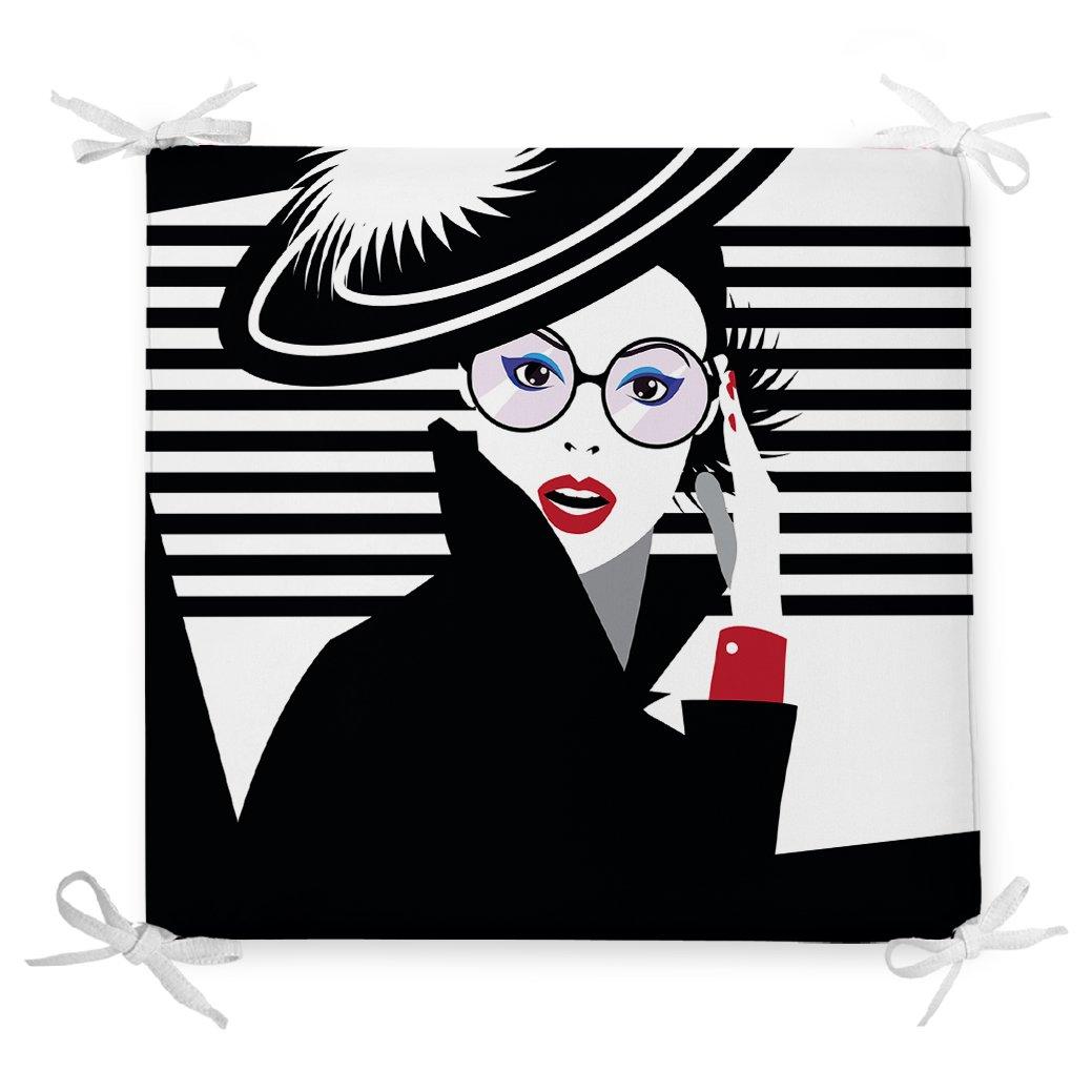 Siyah Beyaz Fashion Woman Tasarımlı Dekoratif Fermuarlı Sandalye Minderi Realhomes