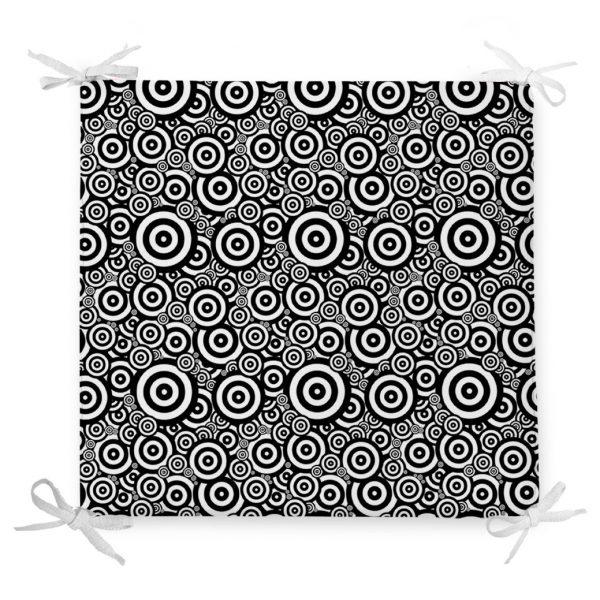 Siyah Beyaz Geometrik Yuvarlak Tasarımlı Modern Fermuarlı Sandalye Minderi Realhomes