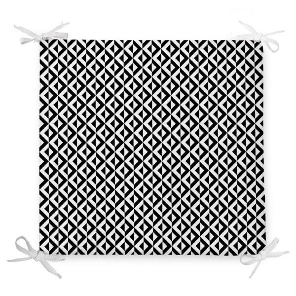 Siyah Beyaz Üçgen Geometrik Desenli Dijital Baskılı Fermuarlı Sandalye Minderi Realhomes