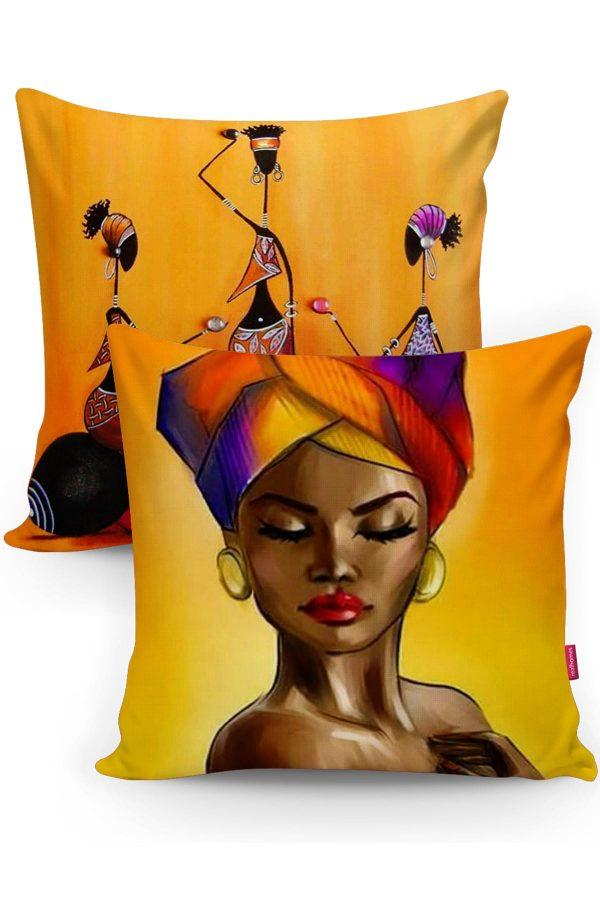 RealHomes Afrika Motifli Dekoratif 2'li Kırlent Kılıfı Seti Realhomes