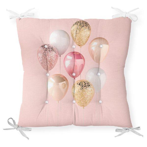 Pembe Zeminli Balonlar Desenli Pofidik Sandalye Minderi Realhomes