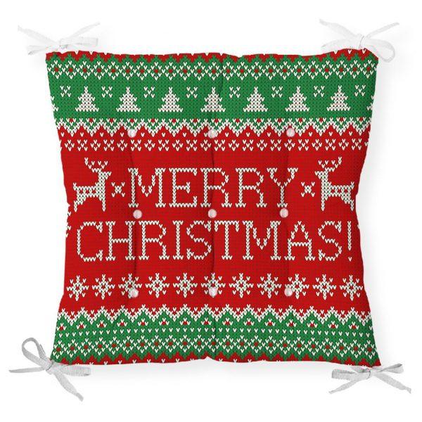 Merry Christmas Motifli Dijital Baskılı Pofidik Sandalye Minderi Realhomes