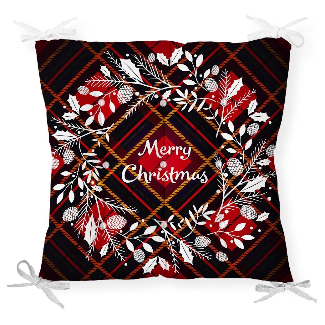 Ekose Merry Christmas Desenli Dijital Baskılı Pofidik Sandalye Minderi Realhomes