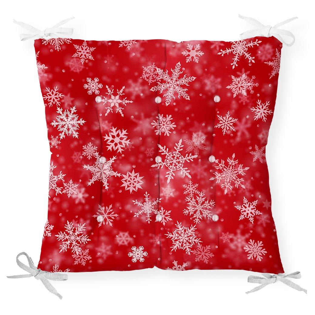 Kırmızı Zeminde Kar Taneleri Dekoratif Pofidik Sandalye Minderi Realhomes
