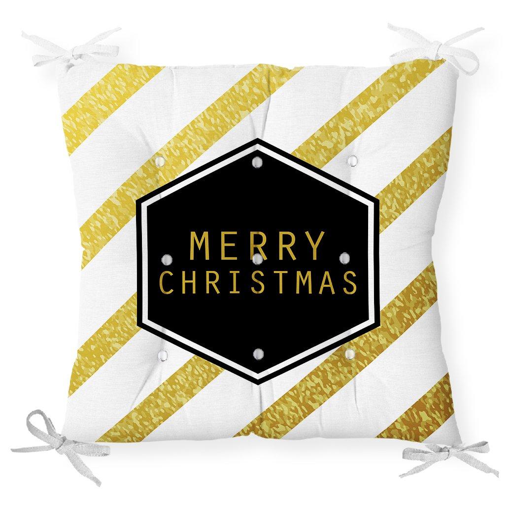 Altın Şeritli Merry Christmas Desenli Dekoratif Pofidik Sandalye Minderi Realhomes
