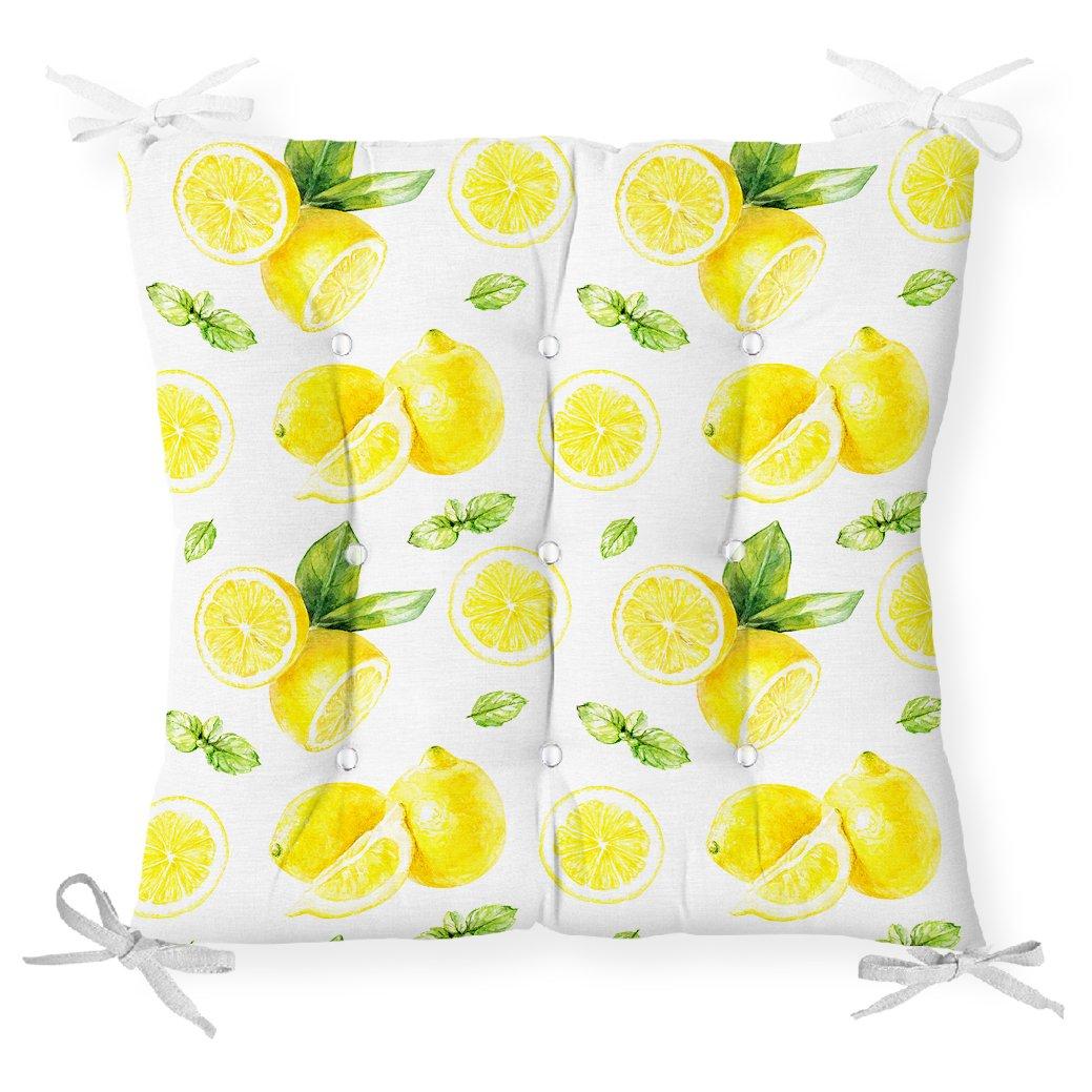Beyaz Zeminde Limonlar Desenli Dijital Baskılı Pofidik Sandalye Minderi Realhomes