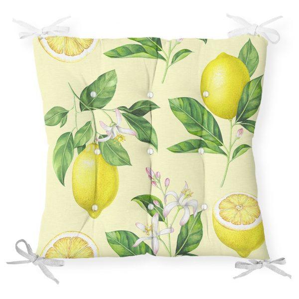 Krem Zeminli Limon Desenli Dekoratif Pofidik Sandalye Minderi Realhomes
