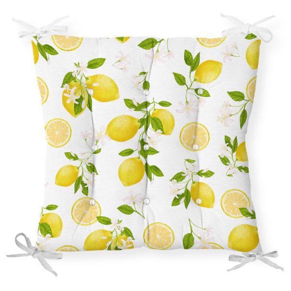 Limon Desenli İlkbahar Renkleri Dijital Baksılı Pofidik Sandalye Minderi Realhomes
