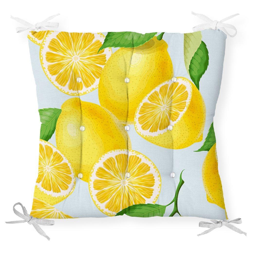 Mavi Zeminli Limon Desenli Dekoratif Pofidik Sandalye Minderi Realhomes