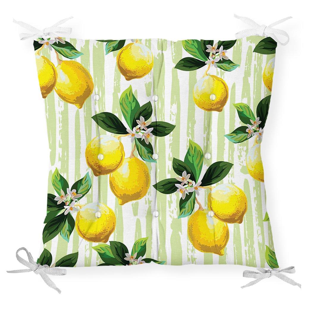 Yeşil Zeminli 3 Boyutlu Limon Desenli Dijital Baskılı Pofidik Sandalye Minderi Realhomes