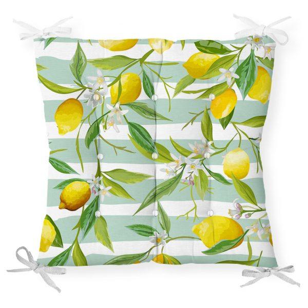 Yeşil Çizgili Limon Desenli Dijital Baskılı Dekoratif Pofidik Sandalye Minderi Realhomes