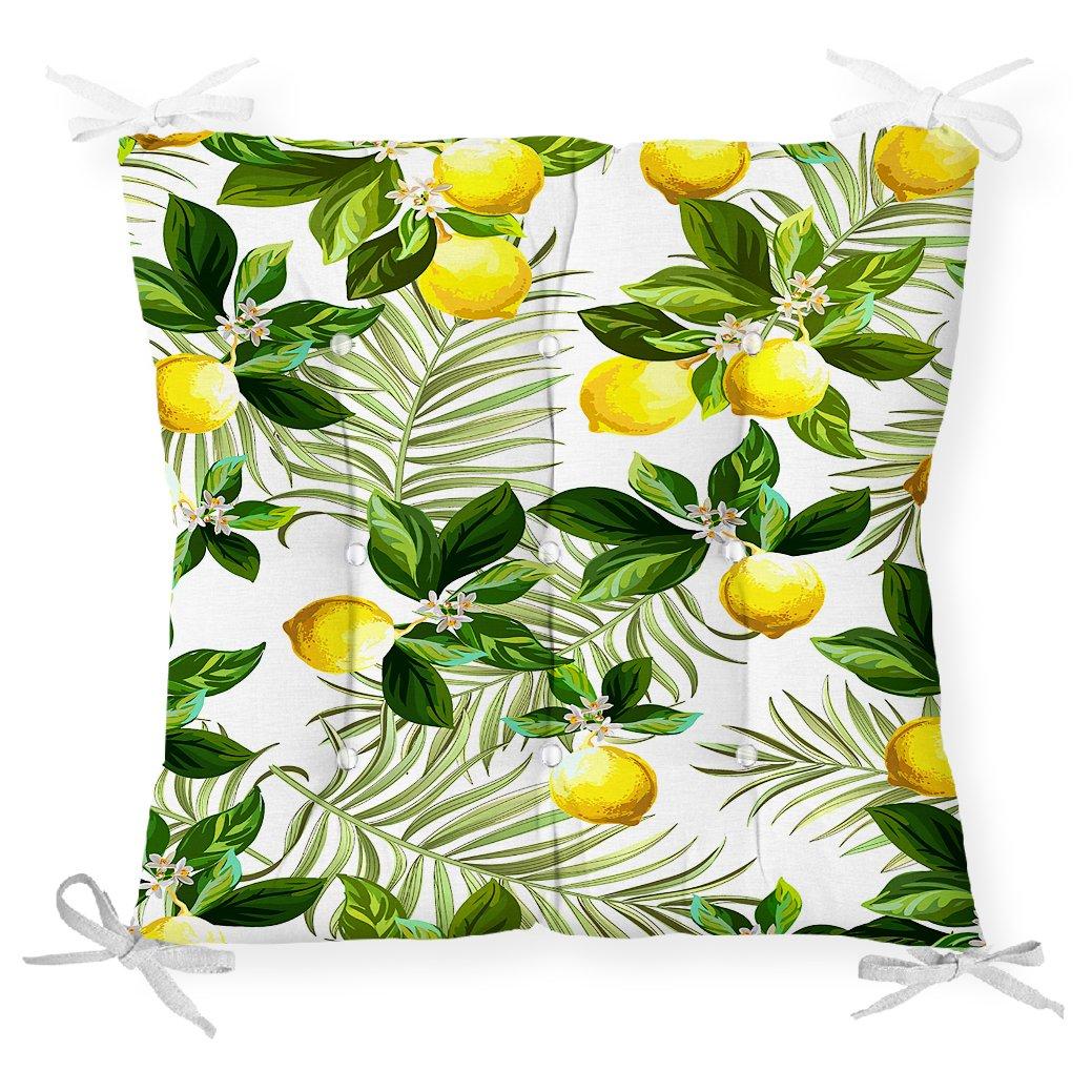 Limon Yaprakları Desenli Dijital Baskılı Pofidik Sandalye Minderi Realhomes