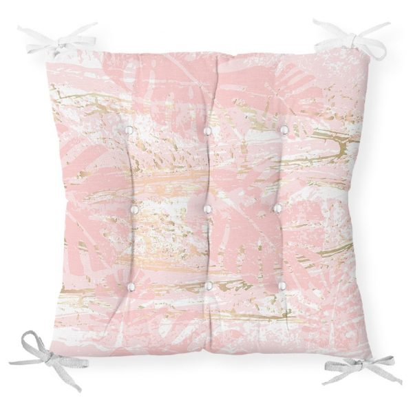 Palmiye Desenli Mermer Zeminli Dekoratif Pofidik Sandalye Minderi Realhomes