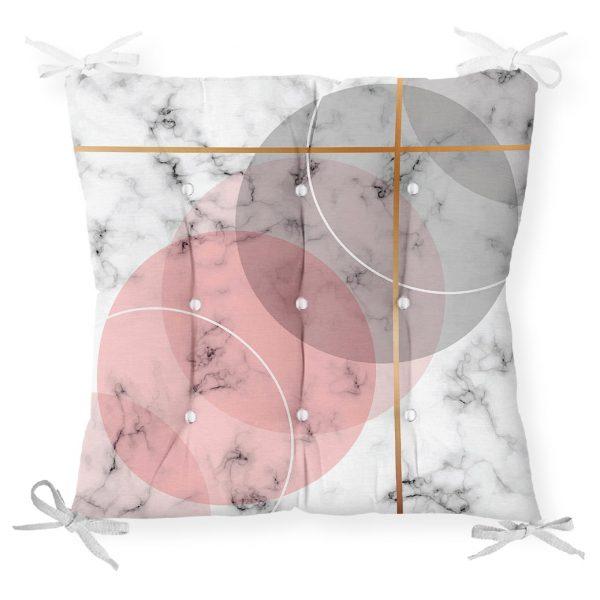 Geometrik Mermer Desenli Dijital Baskılı Pofidik Sandalye Minderi Realhomes